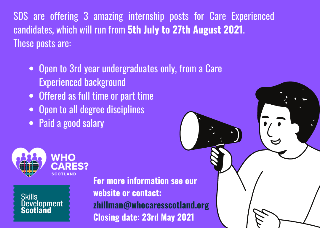 SDS Internships for Care Experienced Students